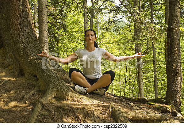 Yoga position in nature - csp2322509