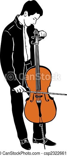 Vector Clip Art of young male musician tuning cello - sketch of a ...