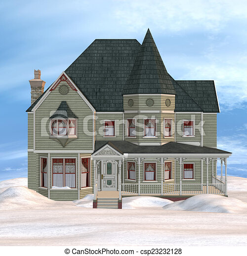 Clip Art Of Victorian Winter House 3D Digital Render Of A Beautiful