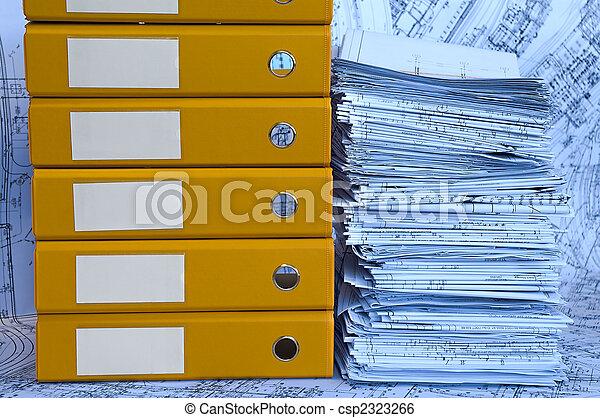 Blue heap of project drawings in yellow folder.
