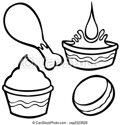Chicken Meal Set Line Art - csp2323828
