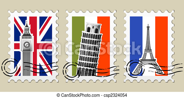 Three Postmarks with sights of Europe and stamps - csp2324054