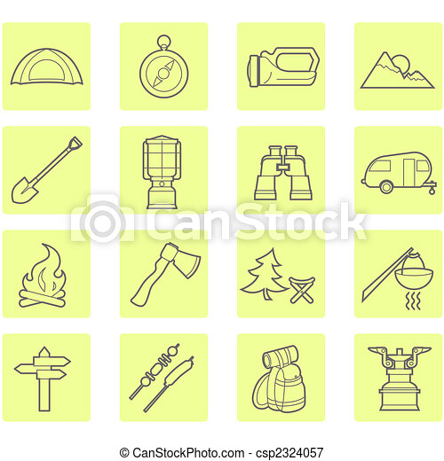 Camping equipment and outdoor travel icons set - csp2324057