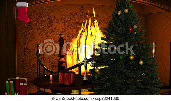 Archivio illustrazioni di regali, Candele, caminetto, Natale ...
