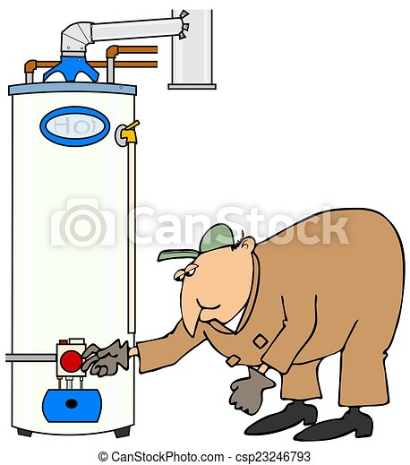 Stock Illustration of Plumber checking a gas water heater ...