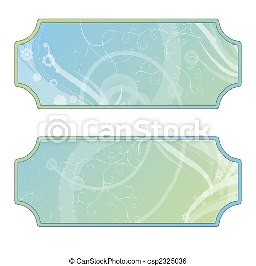 Labels with flourishes, green, blue, white - csp2325036