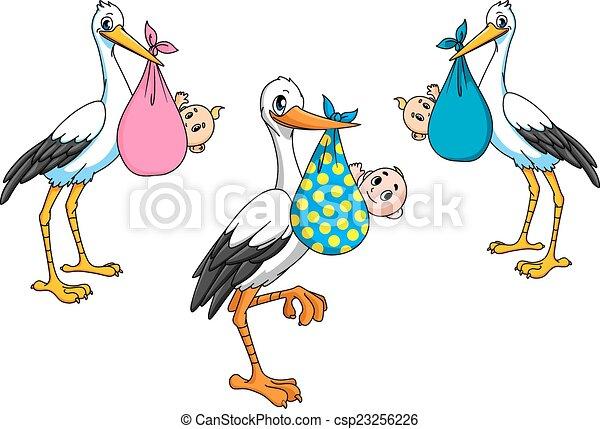 Clipart vectorial de Cigüeñas, proceso de llevar, bebes ...