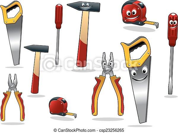 clip art vecteur de ensemble bricolage dessin anim outils bande pinces csp23256265. Black Bedroom Furniture Sets. Home Design Ideas