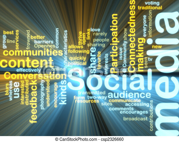 Social media wordcloud glowing - csp2326660