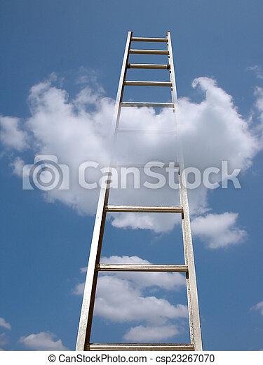 ladder in clouds