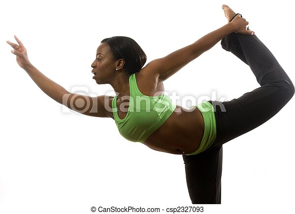 young and pretty hispanic latina black woman wearing exercise tights and working out with dance ballet movements - csp2327093