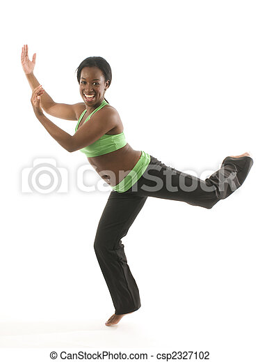 young and pretty hispanic latina black woman wearing exercise tights and working out with dance ballet movements - csp2327102