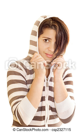 Adolescent female wearing hooded top. - csp2327115
