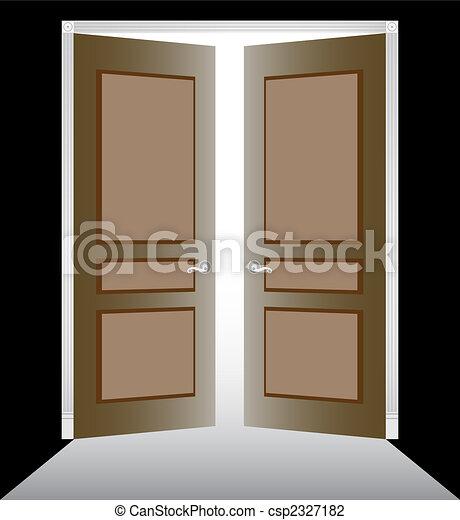 Vector Illustration of Open Doors image of two doorway with