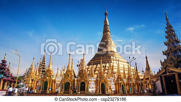 Sacred Buddhist place Shwedagon Pagoda. Yangon, Myanmar (Burma) - csp23276186