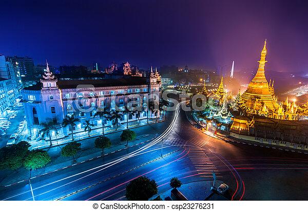 Night view of Sule pagoda. Yangon, Myanmar (Burma) - csp23276231