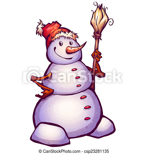 Drawings of Illustration of funny snowman with broom ...