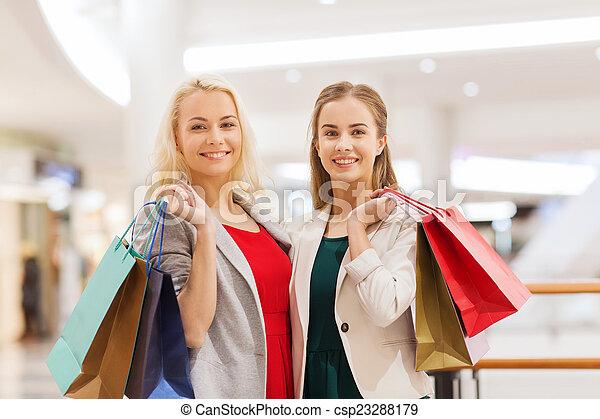 Säcke, shoppen, junger, einkaufszentrum, glücklich, frauen - csp23288179