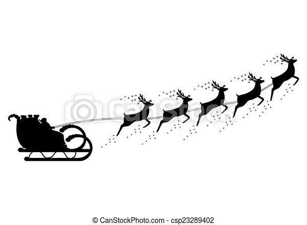Santa Claus rides in a sleigh in harness  - csp23289402