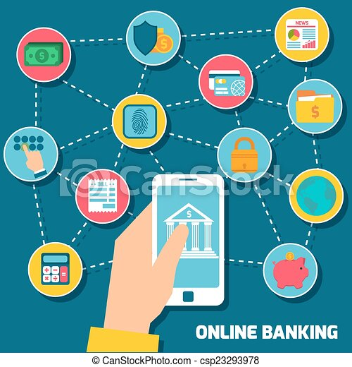 オンラインで, 銀行業, 概念, 手, 保有物,... csp23293978のベクターイラスト - クリップアート ...