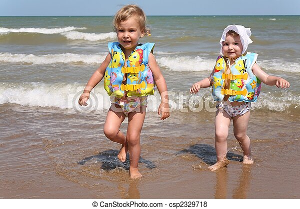 Sisters leave the sea - csp2329718