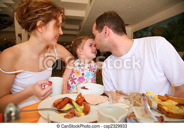familia, hotel, cena - csp2329933