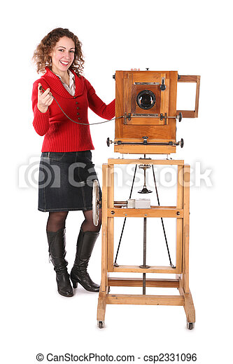 girl and obsolete camera - csp2331096