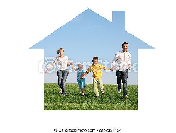 family of four running in dream house