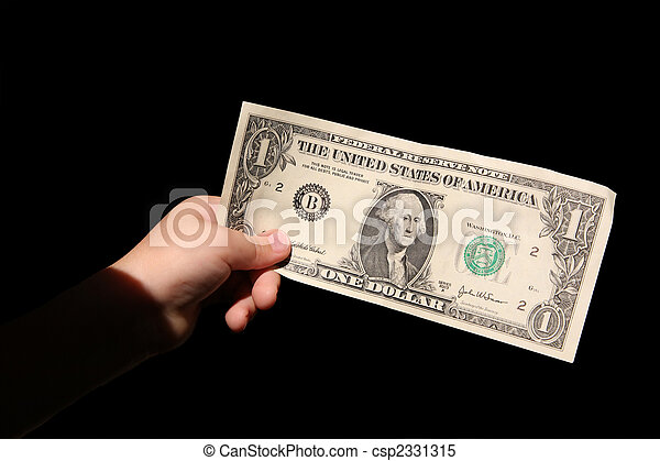 hand and one dollar isolated on black backgrounds