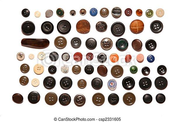 bottoni, molti, bianco, isolato - csp2331605
