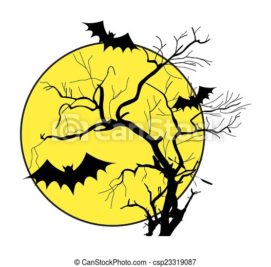 Vector of Flying Bats in Scary Night - Scary Halloween Bats Flying in ...