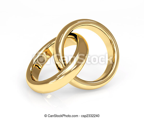 Two 3d gold wedding ring - csp2332240