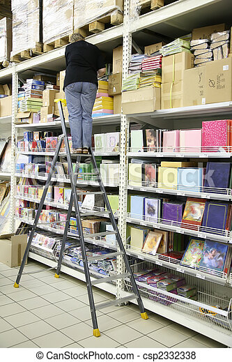 woman on the stepladder on the storage of the paper - csp2332338