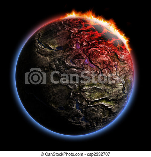 3D render planet with fire corona effect - csp2332707