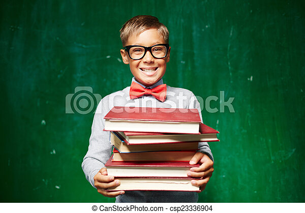 Pupil with textbooks