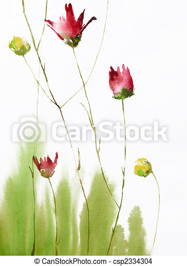 painting of flowers - csp2334304
