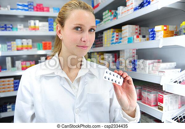 pharmacist selling medicine - csp2334435