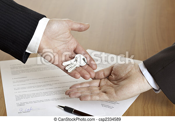 Handing over the keys after contract signing - csp2334589