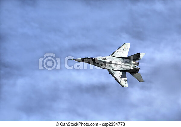 Military airplane in sky - csp2334773