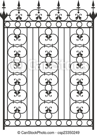 Wrought Iron Gate, Door, Fence, Window, Grill, Railing Design - csp23350249