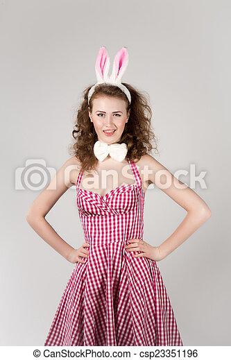 sexy girl wearing easter bunny costume