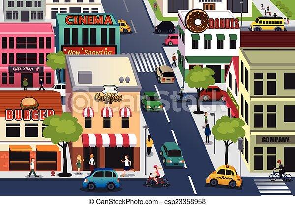 忙しい, 都市, 朝 - a, ベクトル, イラスト,... csp23358958のクリップアートベクター ...