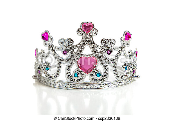 A child's toy princess tiara on a white background - csp2336189