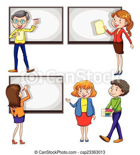 Vector Clip Art of Male and female teachers - A drawing of the ...