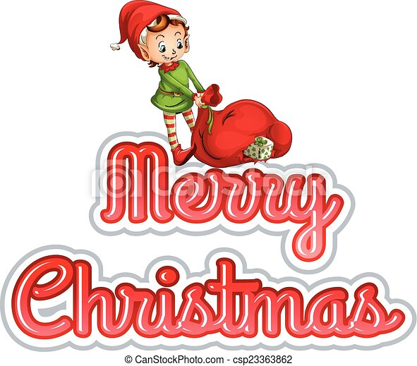 Clip Art Vector of Merry Christmas with elf - Merry Christass neon ...