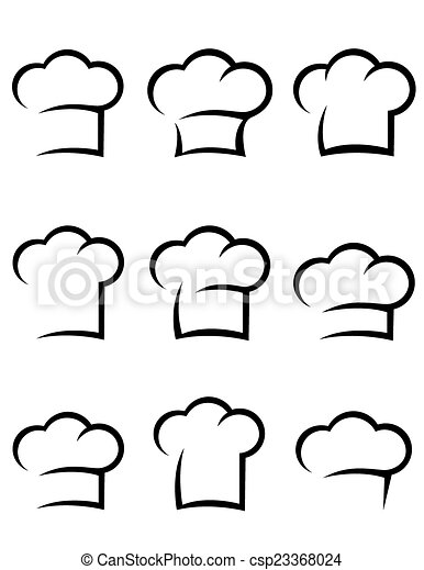 black chef hat set - csp23368024