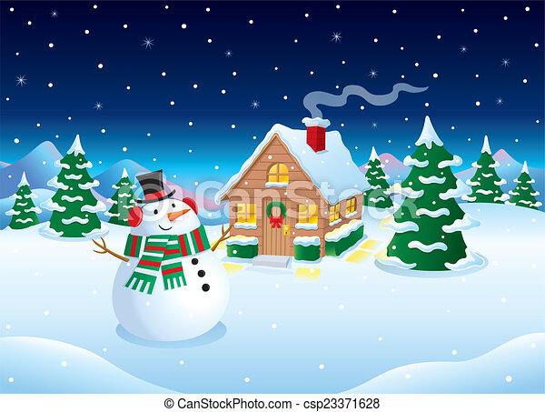 Clip Art of Snowman and Cabin Winter Scene - Cartoon illustration of a ...
