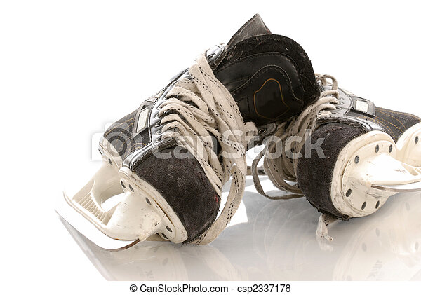 ice hockey skates with reflection on white background - csp2337178