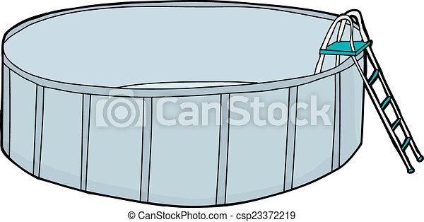 Vector Clip Art of Empty Round Swimming Pool - Empty above ground ...