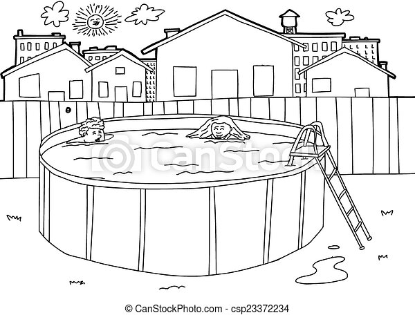 Vectors of outline swimming pool scene hand drawn for Swimming pool drawing